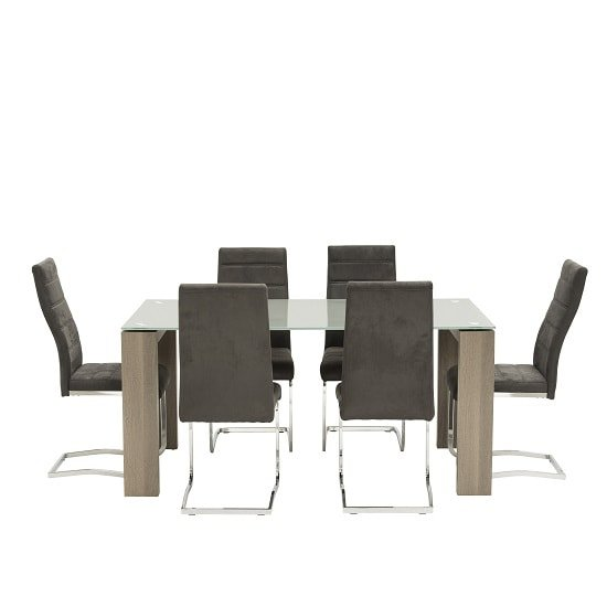 Devan Glass Dining Table Set In Grey With 6 Black Chairs