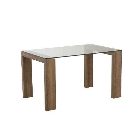 Devan Glass Dining Table Small In Clear With Rustic Oak Legs