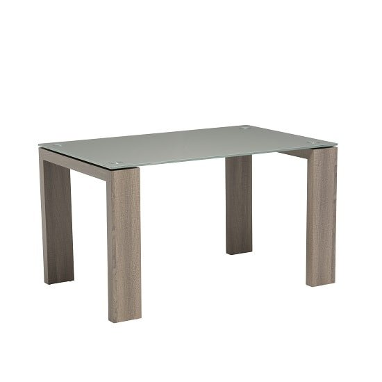 Devan Glass Dining Table Small In Grey With Wooden Legs