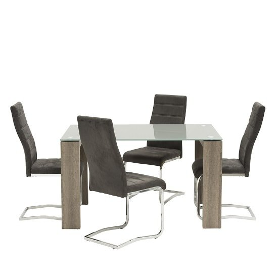 Devan glass dining table small in grey with 4 black chairs for Small black dining table set