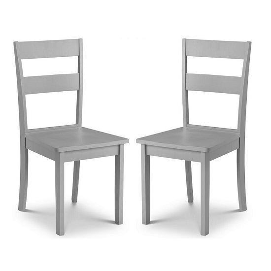 Devanna Wooden Dining Chair In Grey Lacquer In A Pair