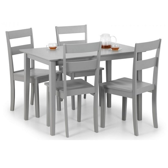 Devanna Wooden Dining Table In Grey Lacquer With Four Chairs_2