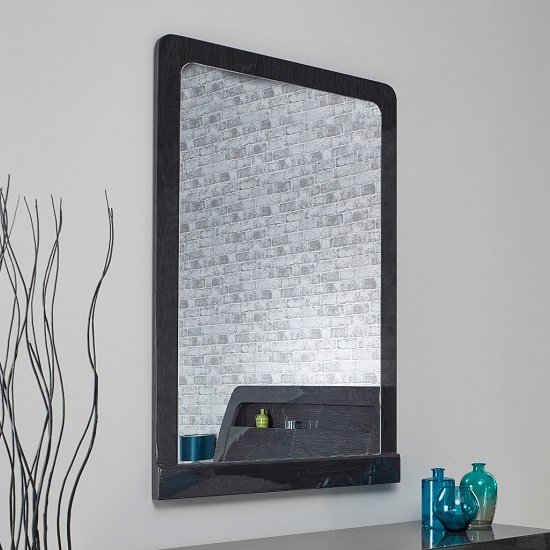 Devito Wooden Dressing Mirror In Grey Gloss Grain Effect Frame_1