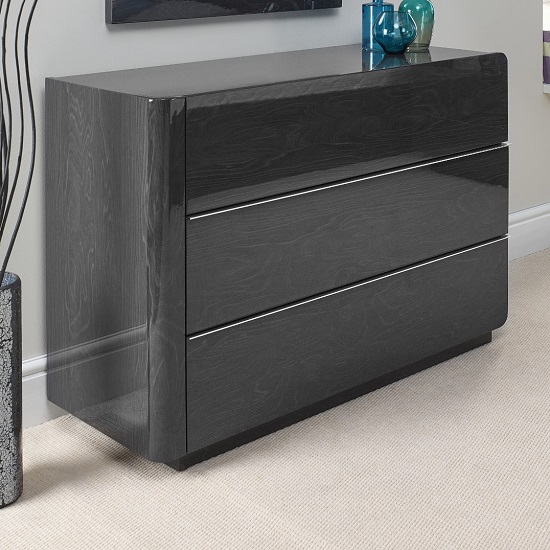 Devito Wooden Dressing Table In Grey Gloss Grain Effect