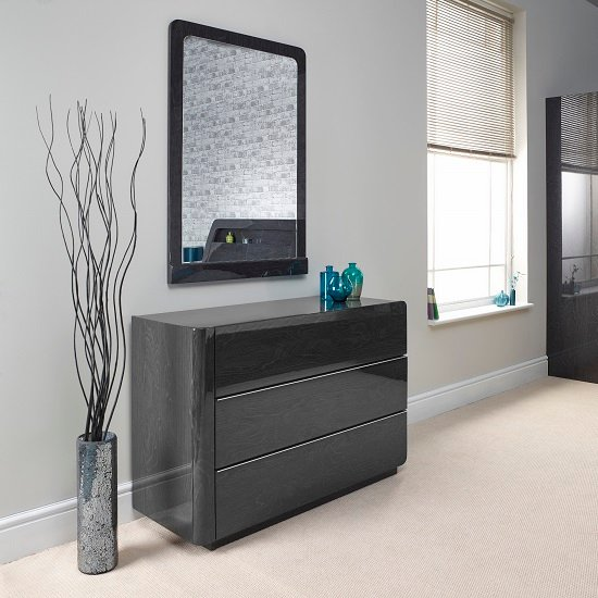 Devito Dressing Table With Mirror In Grey Gloss Grain Effect