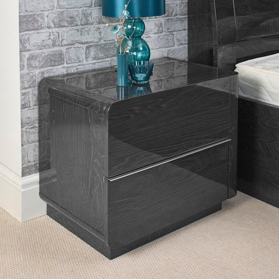 Devito Right Side Bedside Cabinet In Grey Gloss Grain Effect