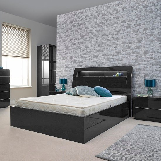 Devito Wooden King Bed In Grey Gloss Grain Effect With LED