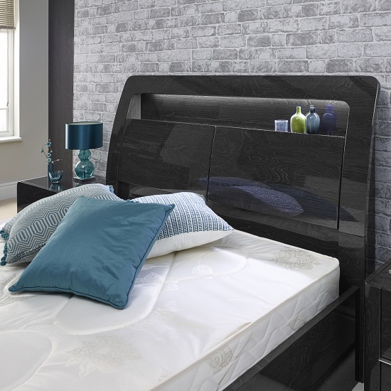 Devito Wooden King Bed In Grey Gloss Grain Effect With LED_4