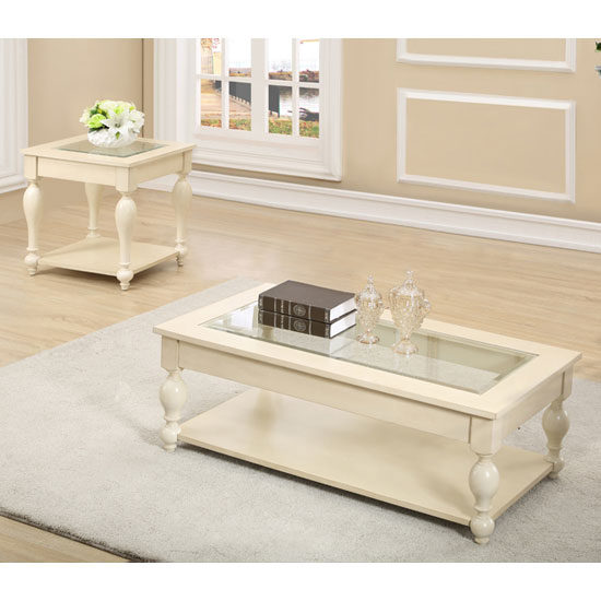 Devon Wooden Coffee Table In Bone With Clear Glass Inset Top_2
