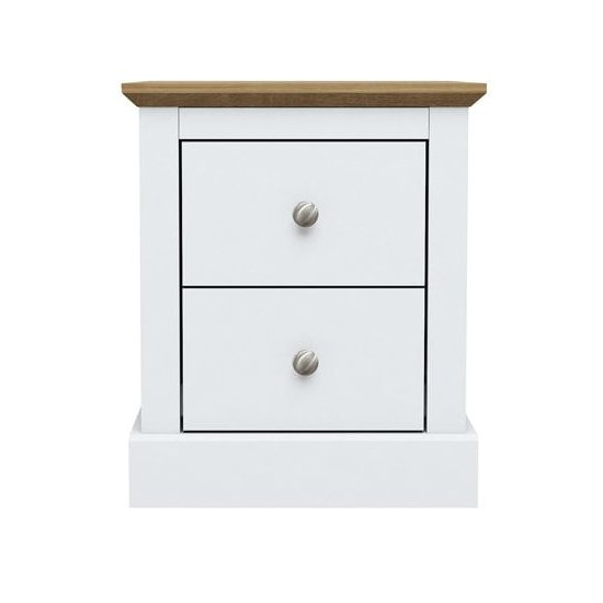 Devon Wooden Bedside Cabinet In White With 2 Drawers_1