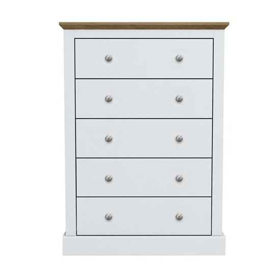 Devon Wooden Chest Of Drawers In White With 5 Drawers