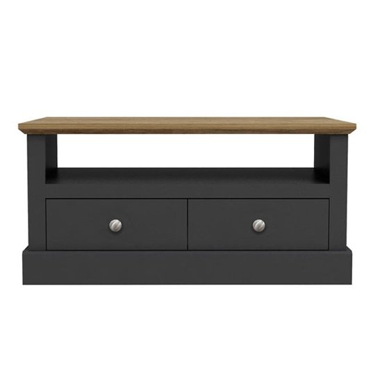 Devon Wooden Coffee Table In Charcoal With 2 Drawers And Shelf_1