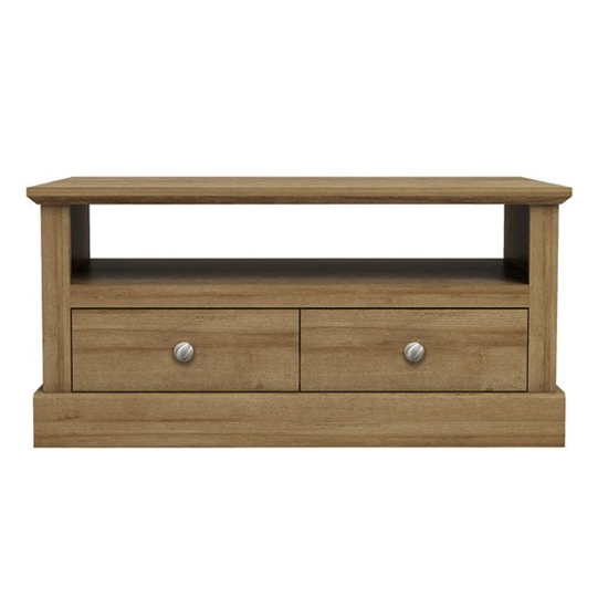 Devon Wooden Coffee Table In Oak With 2 Drawers And Shelf