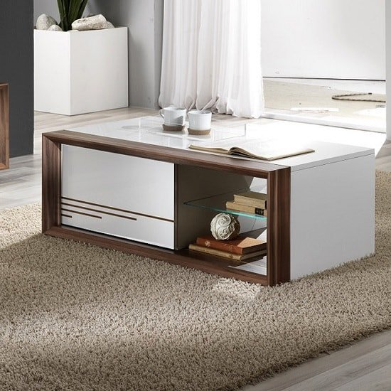Devon Wooden Coffee Table Rectangular In White High Gloss