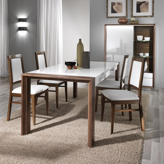 Devon Wooden Dining Table Rectangular In White High Gloss_4