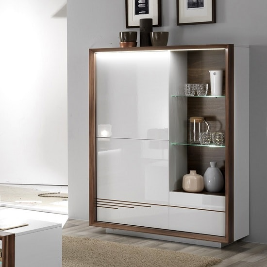 White Gloss Led Furniture: Devon Wooden Display Cabinet In White High Gloss With LED