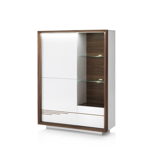 Nicoli Display Cabinet In White High Gloss With 3 Doors: Devon Wooden Display Cabinet In White High Gloss With LED