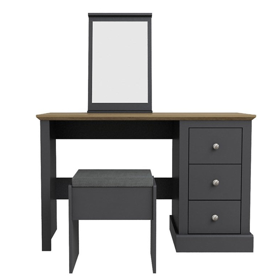 Devon Wooden Dressing Table Set In Charcoal