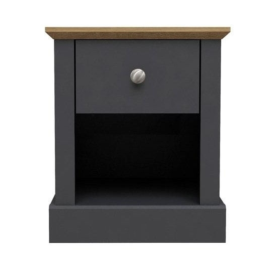 Devon Wooden Lamp Table In Charcoal With 1 Drawer_1
