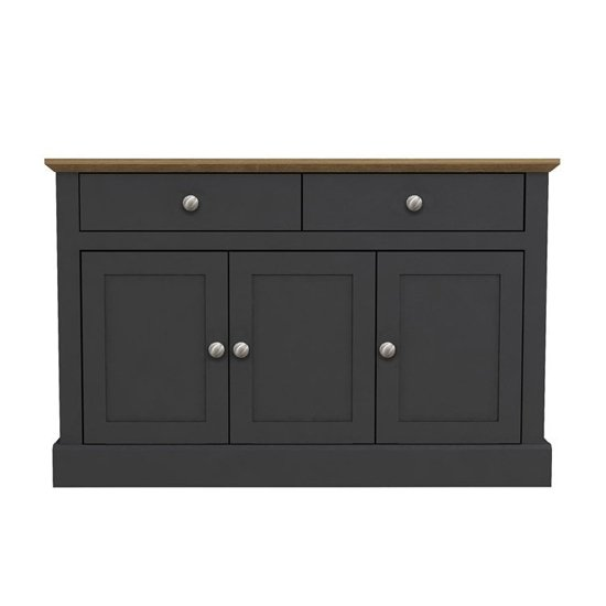 Devon Wooden Sideboard In Charcoal With 3 Doors And 2 Drawers_1