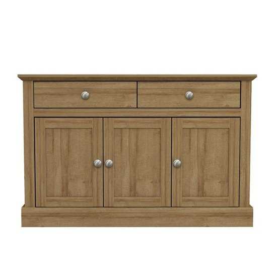 Devon Wooden Sideboard In Oak With 3 Doors And 2 Drawers