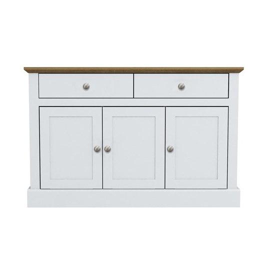Devon Wooden Sideboard In White With 3 Doors And 2 Drawers