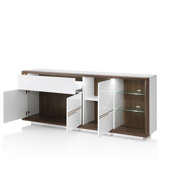Devon Wooden Sideboard In White High Gloss With LED Lighting_2