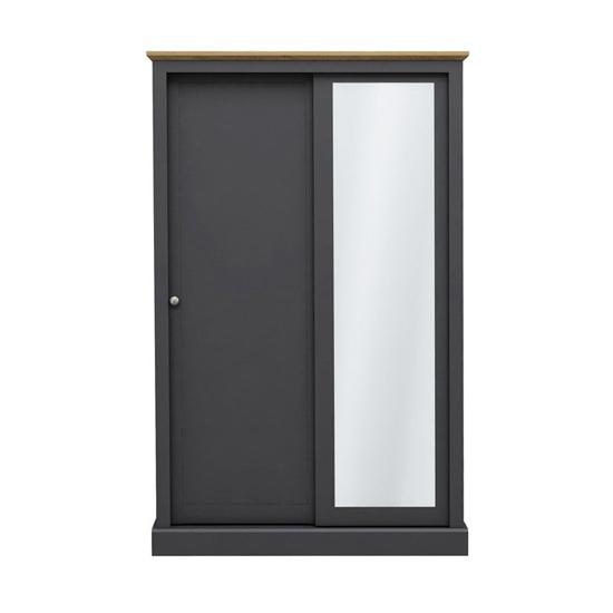 View Devon wooden sliding wardrobe in charcoal with 2 doors