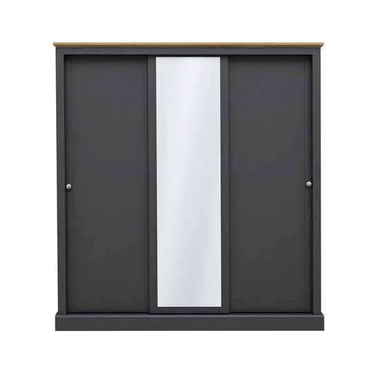 Devon Wooden Sliding Wardrobe In Charcoal With 3 Doors