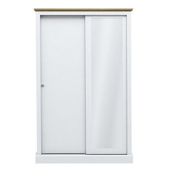 Devon Wooden Sliding Wardrobe In White With 2 Doors