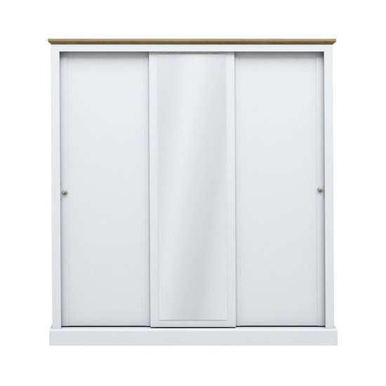 Devon Wooden Sliding Wardrobe In White With 3 Doors