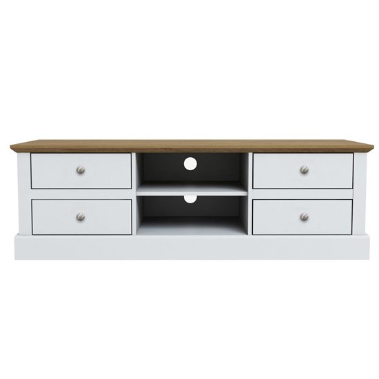Devon Wooden TV Stand In White With 4 Drawers And Shelf