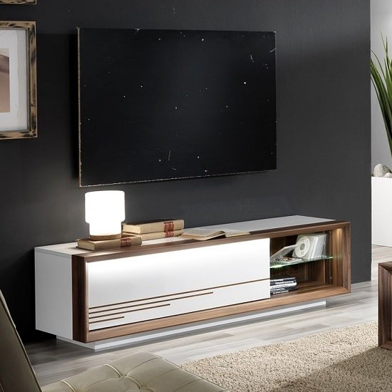 Devon Wooden TV Stand In White High Gloss