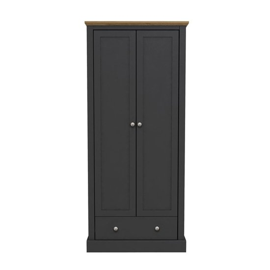 Devon Wooden Wardrobe In Charcoal With 2 Doors