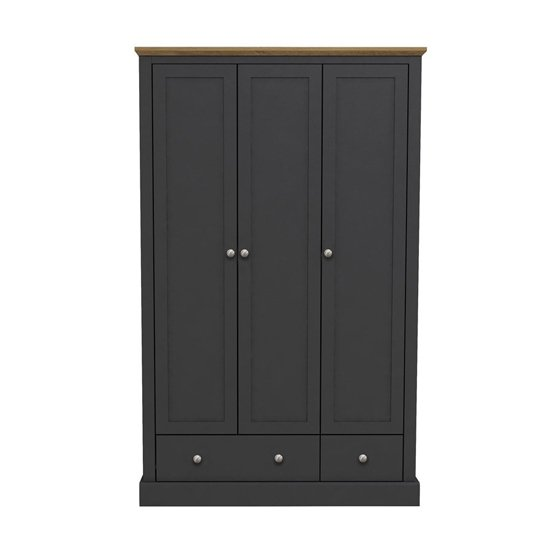Devon Wooden Wardrobe In Charcoal With 3 Doors And 2 Drawers