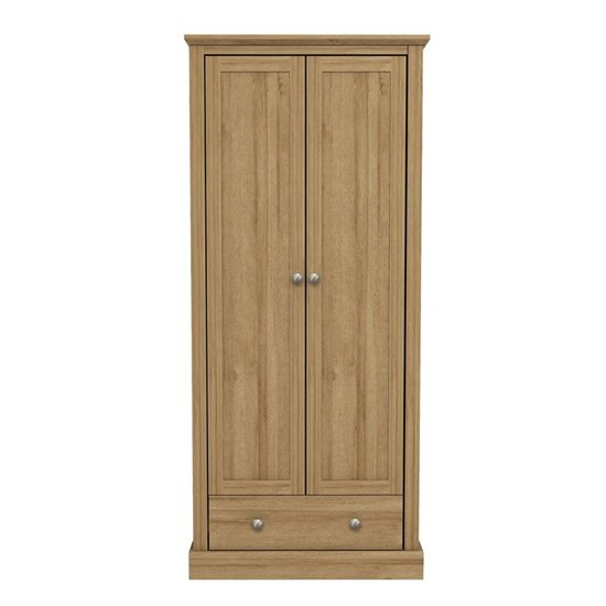 Devon Wooden Wardrobe In Oak With 2 Doors