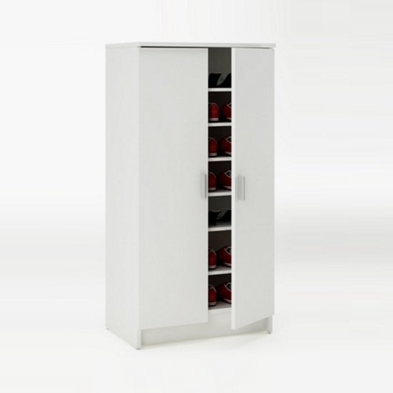 Devon Shoe Storage Cabinet In Pearl White With 2 Doors