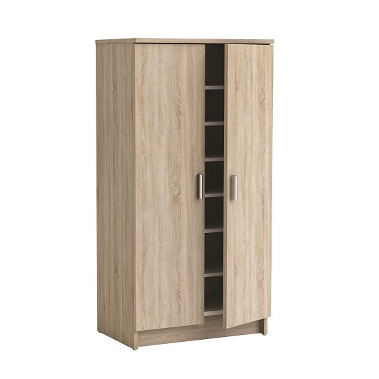 Stewart shoe storage cabinet in white with 2 doors for - Armoire a chaussures avec miroir ...