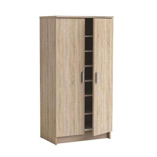 Devon Shoe Storage Cabinet In Brushed Oak With 2 Doors