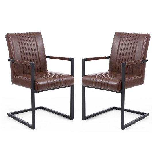 Dewall Cantilever Chair In Brown With Black Frame In A Pair