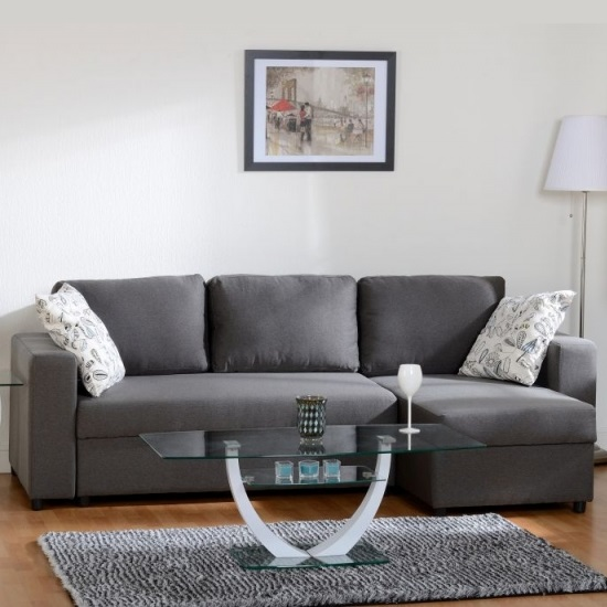 Dexter Corner Sofa Bed In Dark Grey Fabric With Storage_1