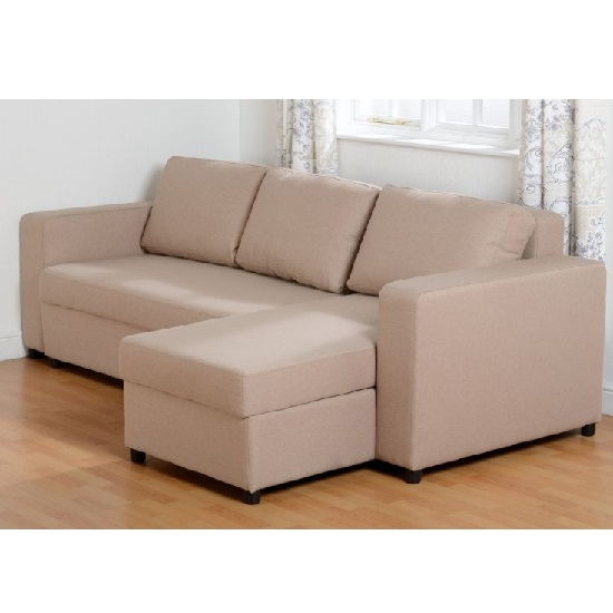 Dexter Corner Sofa Bed In Light Brown Fabric With Storage