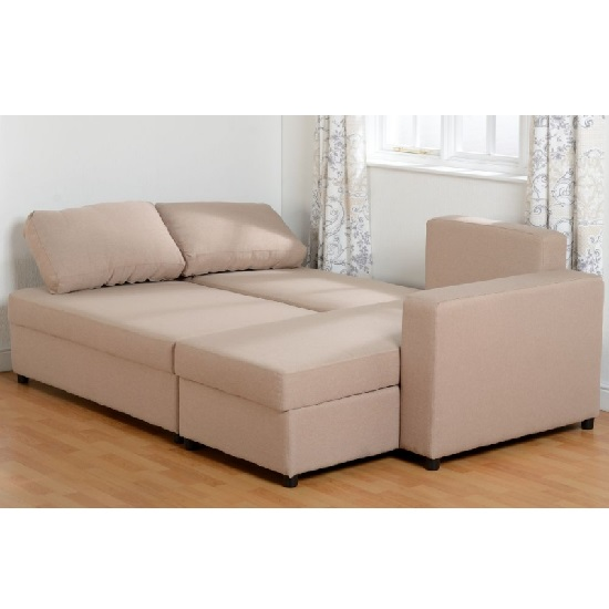 Dexter Corner Sofa Bed In Light Brown Fabric With Storage_2