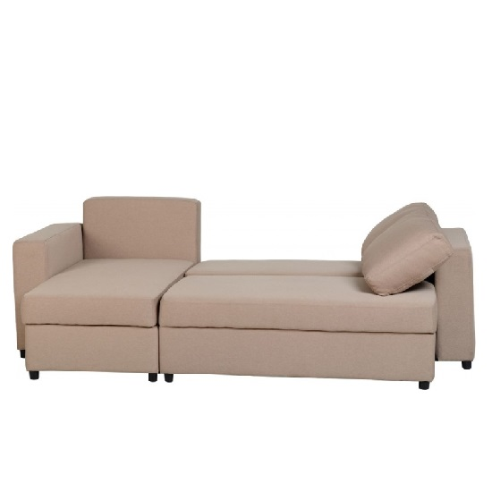 Dexter Corner Sofa Bed In Light Brown Fabric With Storage_6