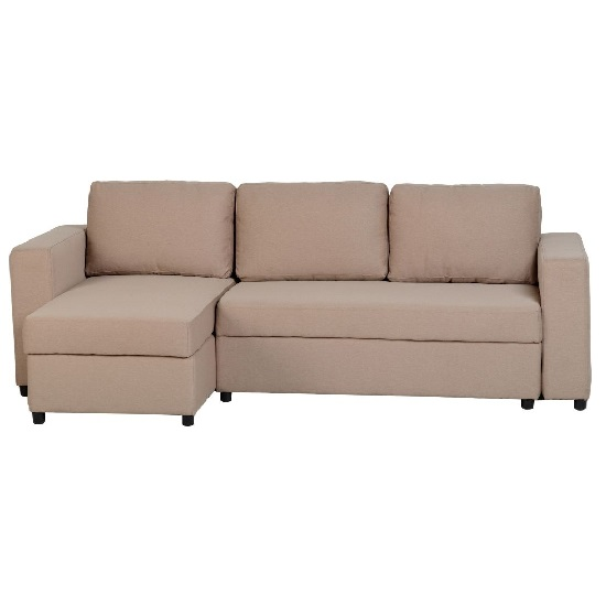 Dexter Corner Sofa Bed In Light Brown Fabric With Storage_5
