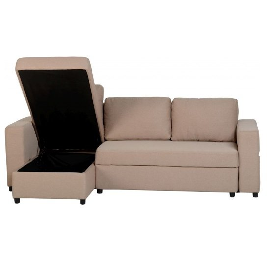 Dexter Corner Sofa Bed In Light Brown Fabric With Storage_3