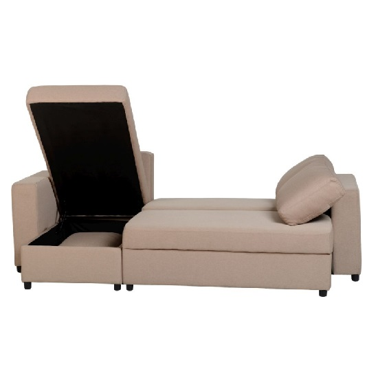 Dexter Corner Sofa Bed In Light Brown Fabric With Storage_4