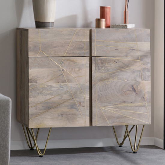 Dhort Medium Wooden Sideboard In Natural With 2 Doors