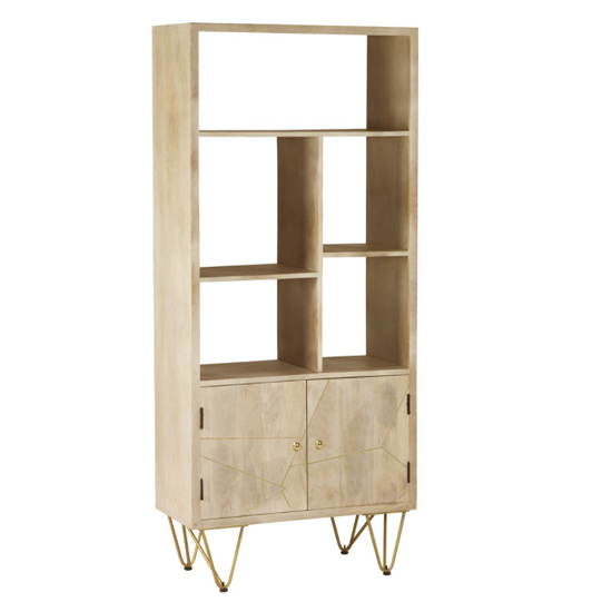 Dhort Wooden Bookcase In Natural With 2 Doors 5 Shelves_2