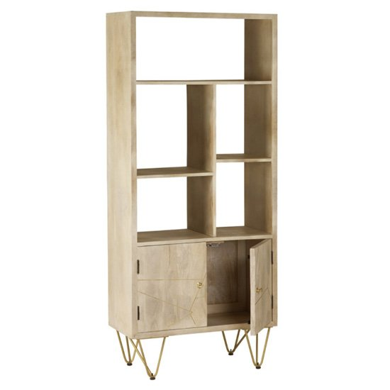 Dhort Wooden Bookcase In Natural With 2 Doors 5 Shelves_3